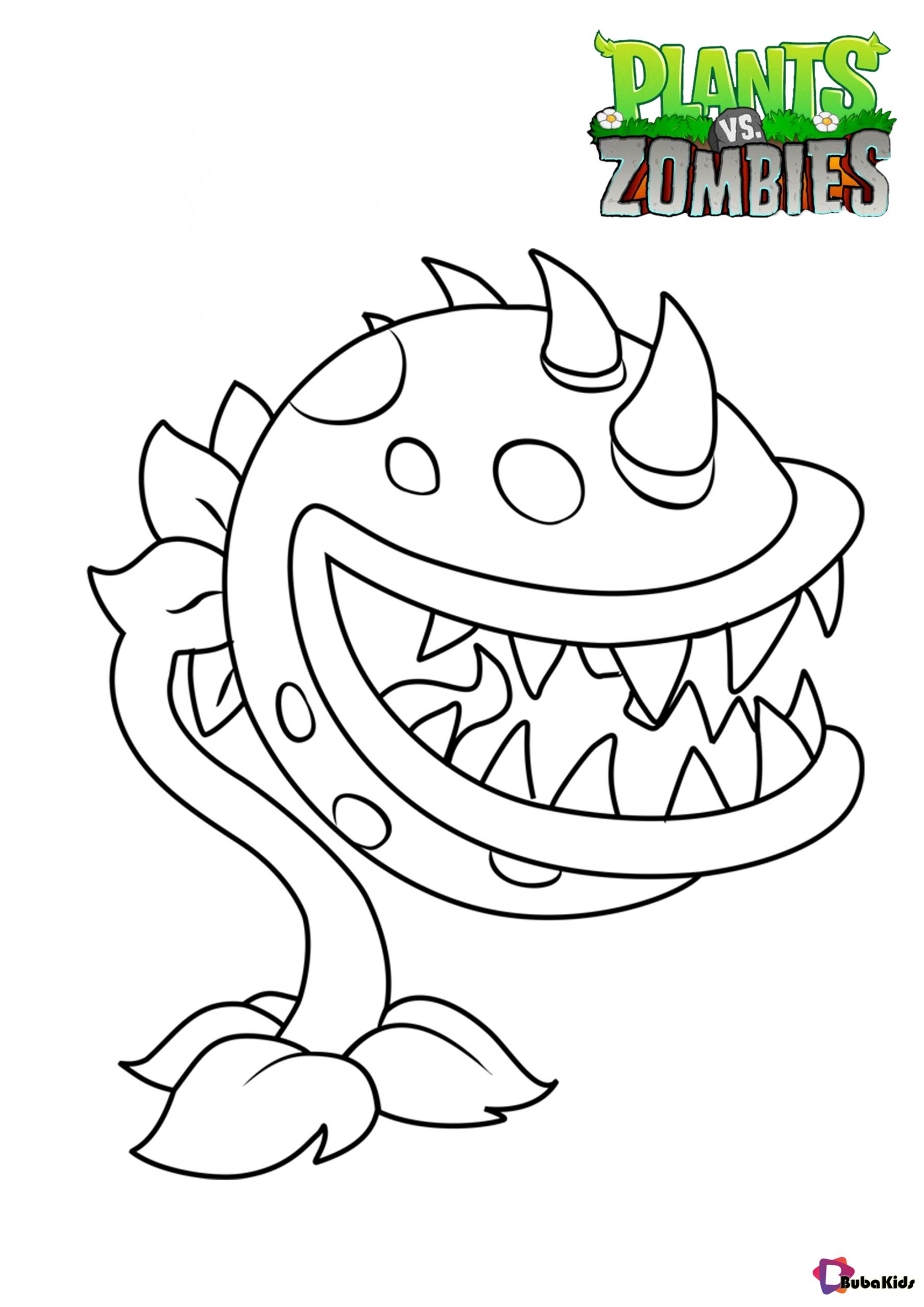 Plants Vs Zombies Chomper Coloring Pages