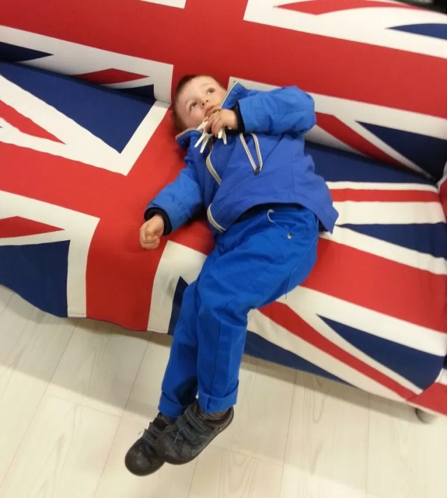 Toddler and IKEA union jack sofa