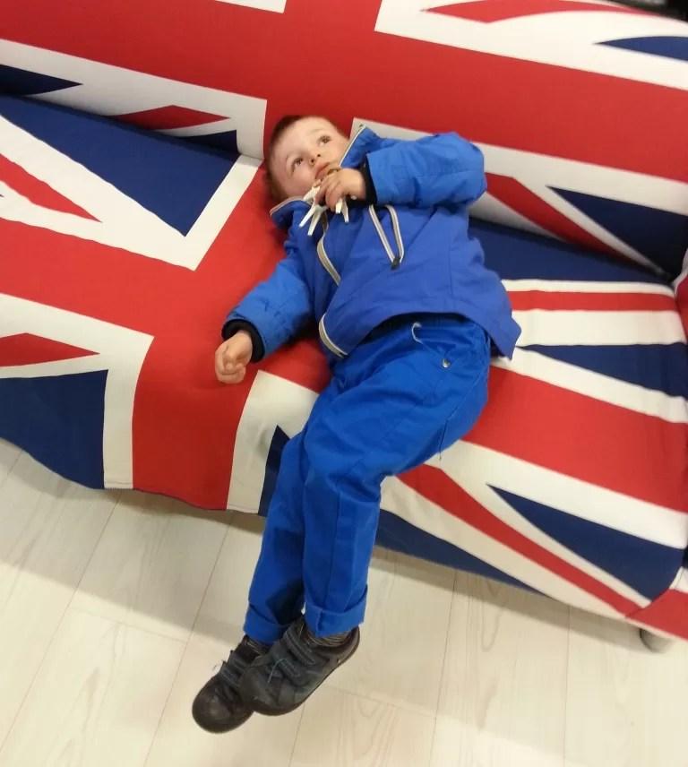 Toddler and IKEA union jack sofa