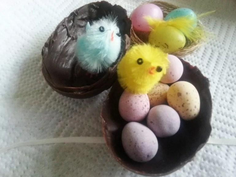 handmade easter eggs filled with mini eggs