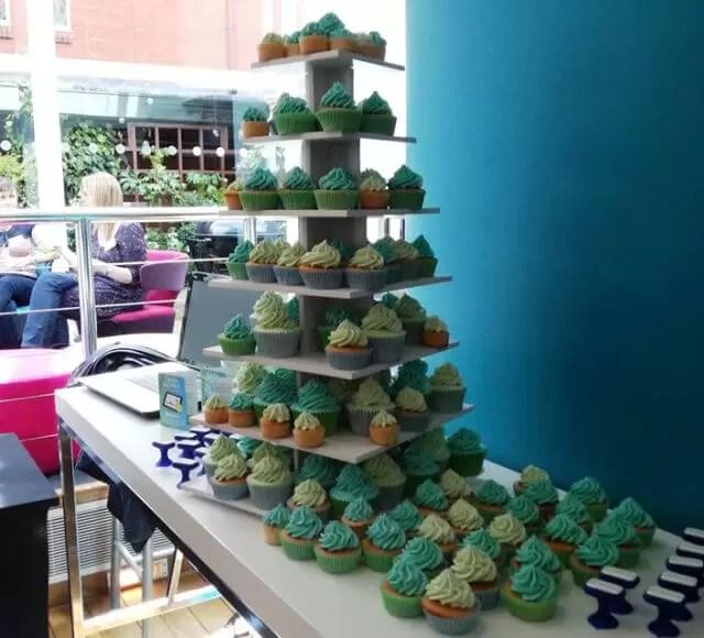 green cupcakes display
