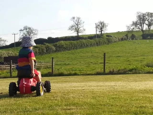 riding on a tractor