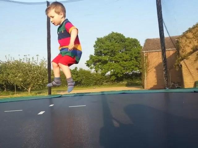 trampolining toddler