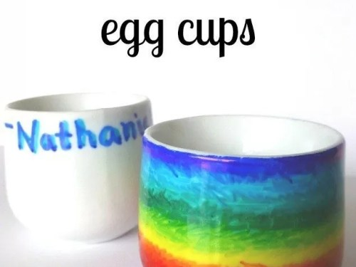 decorate egg cups with Sharpies