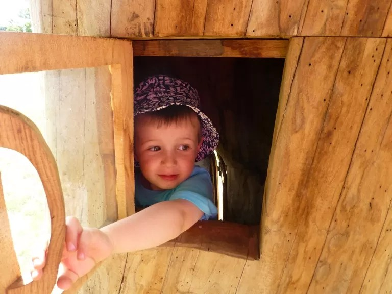 looking out of the log house