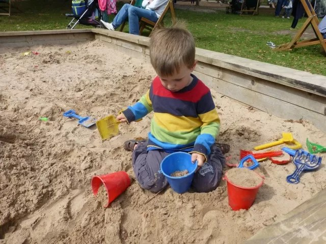 playing in the sandpit at trentham estate