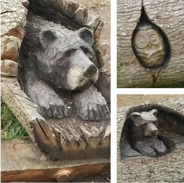 animal log carving