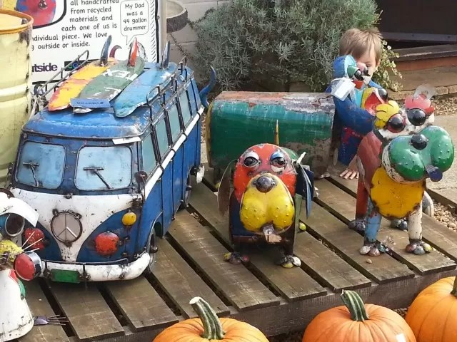 quirky recycled garden ornaments