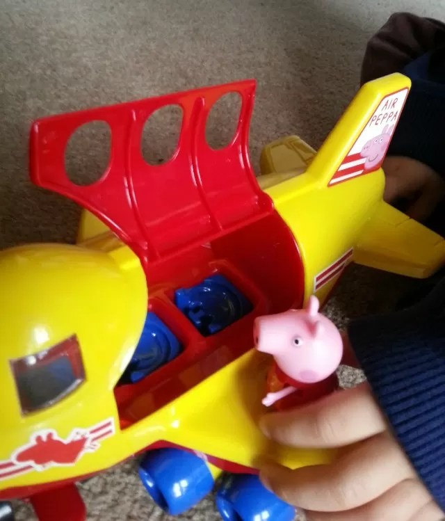testing out peppa pig jumbo jet