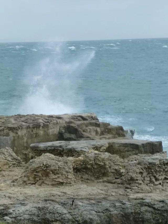 waves pounding the rocks at portland bill c