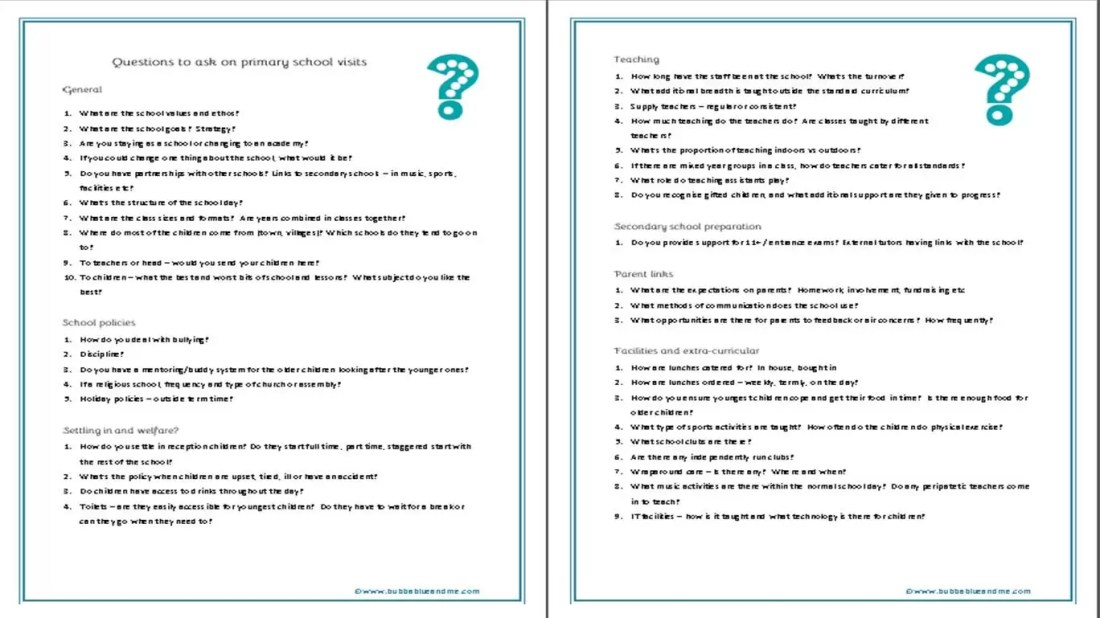 questions for primary school visits