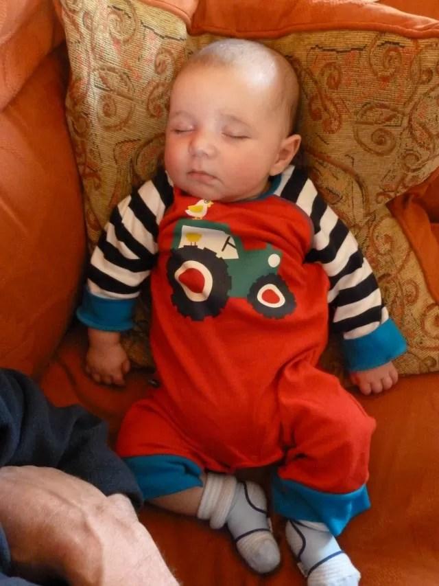 baby's tractor sleepsuit