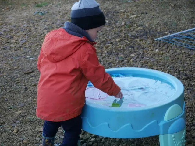 ice is broken in the water table