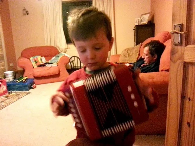 playing the accordian