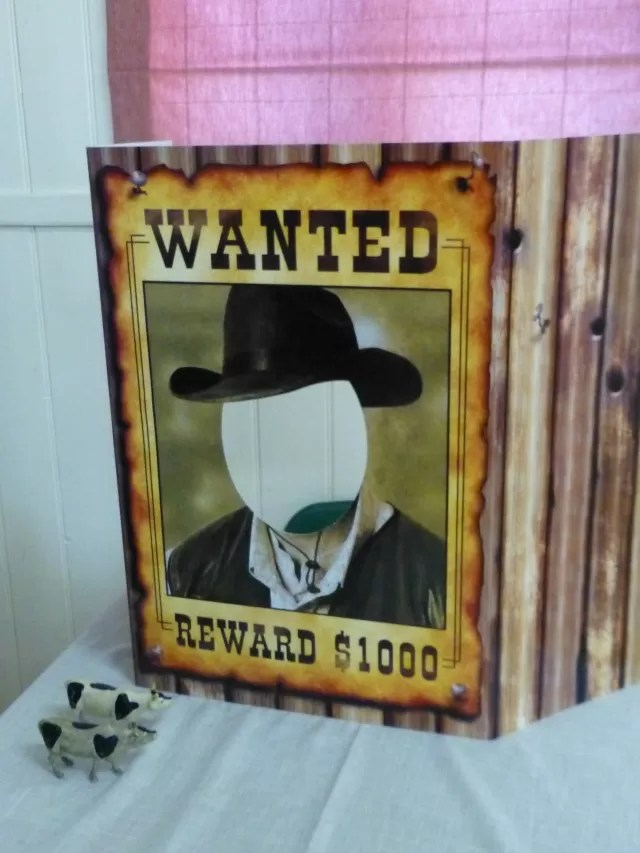 wanted - photo booth - cowboy party games