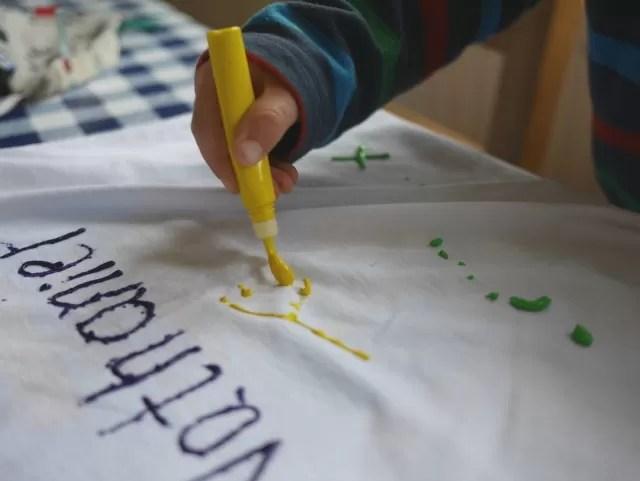 paintin his design on t shirts