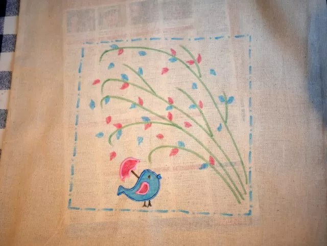 bird design on canvas reusable bag