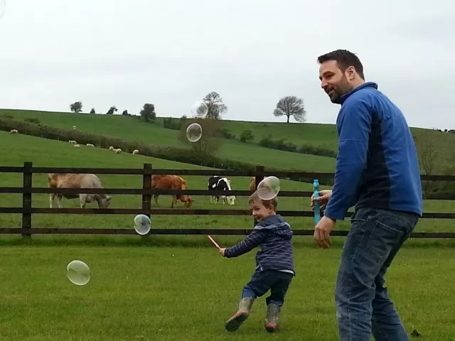 creating and chasing away from bubbles against a backdrop of a field of cows