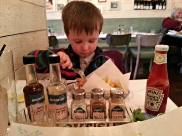 eating childrens fish and chip portions at Rockfish
