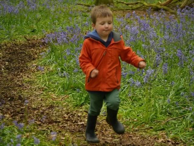 running in bluebell woods