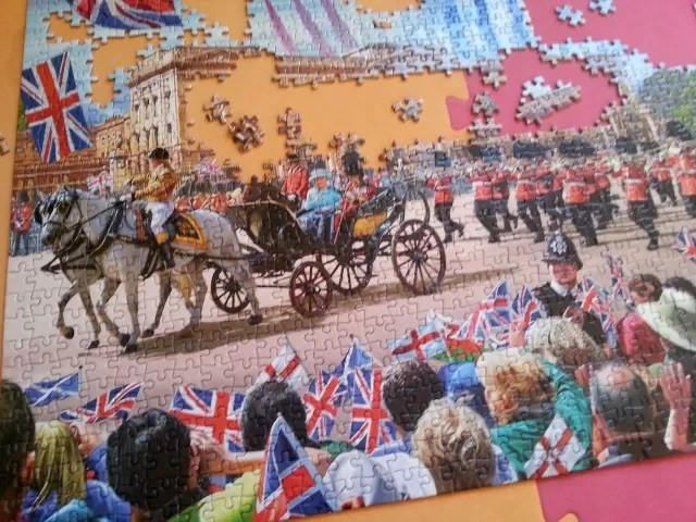 Buckingham Palace Gibsons jigsaw puzzle in progress