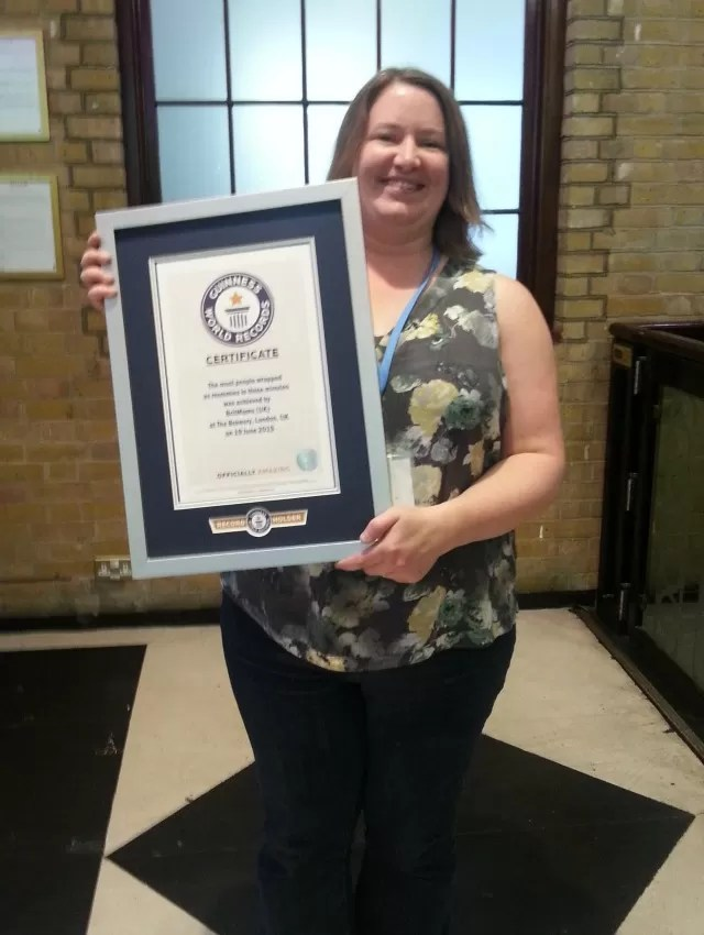 Guinness World Record certificate - most mummies wrapped in 3 minutes - Britmums