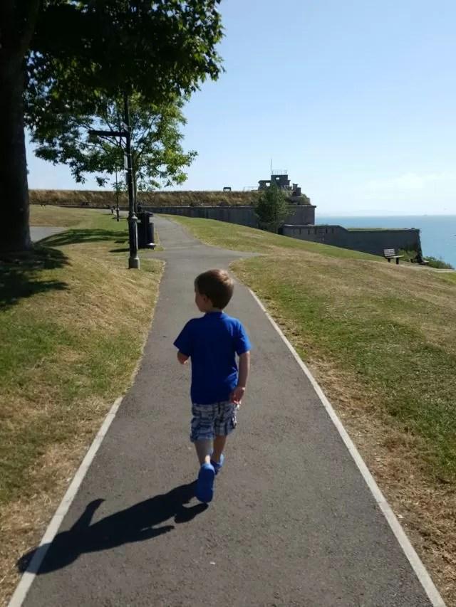Walking the coastal path through Nothe Gardens Weymouth