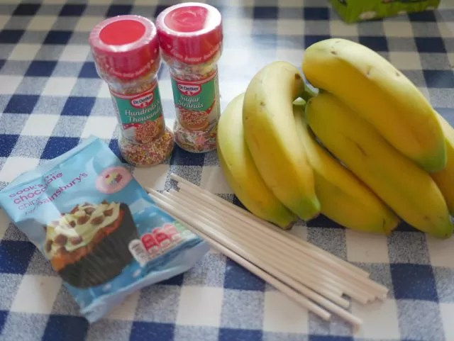 ingredients for banana lollies