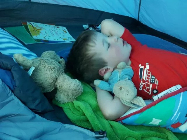Comfy sleeping in the tent