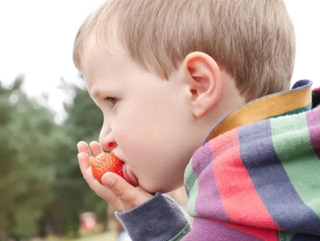 eating strawberries