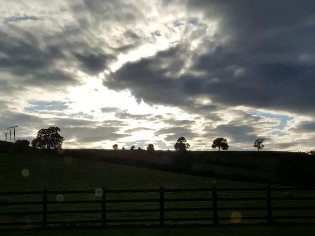 sunset sky over the farm