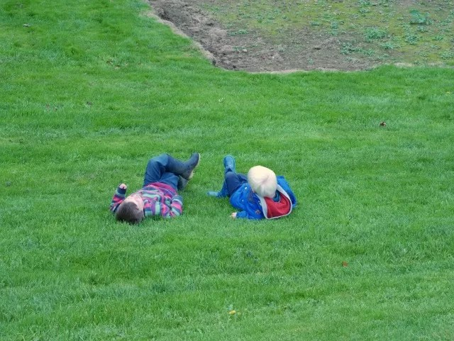 godbrothers chilling out on the sunken lawn at UPton House