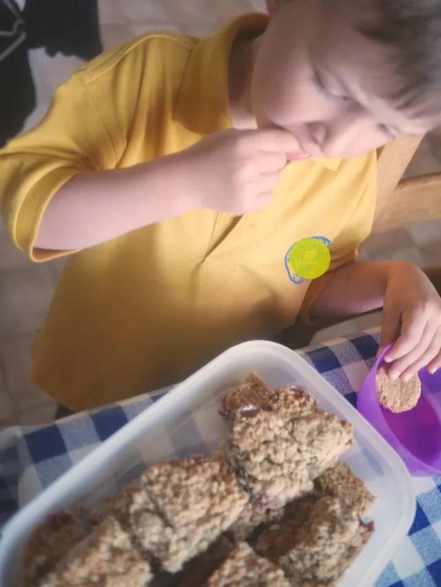 taste testing the fruity oat cakes