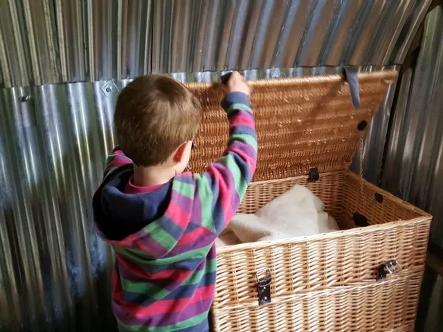 hamper of supplies in the air raid shelter at Upton House