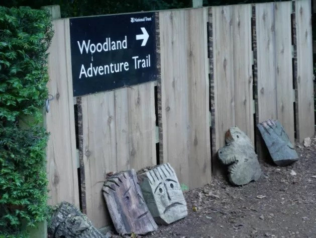sign to Upton House's Woodland adventure trail