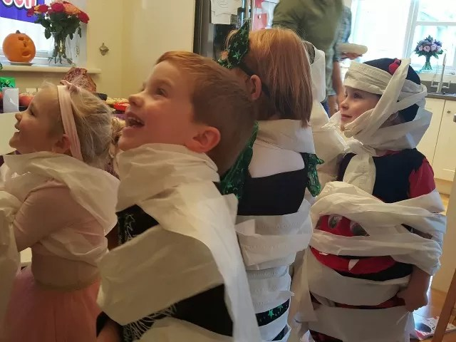 4 year old tissue wrapped mummies