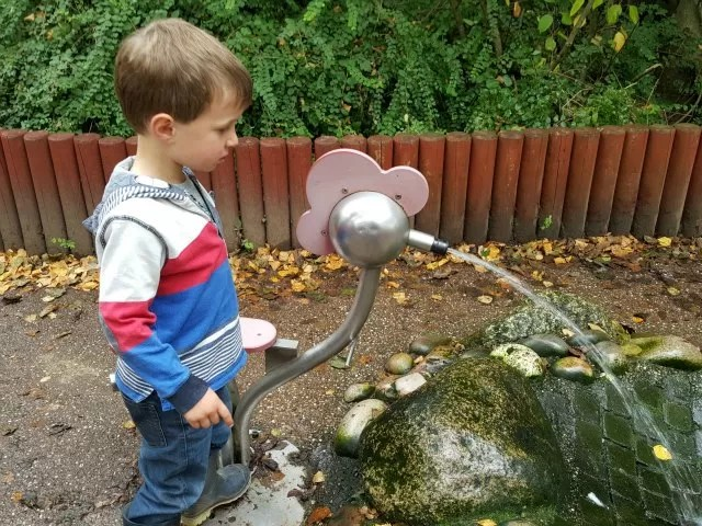 playing with the water pumps