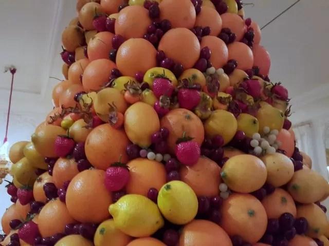 beautiful fruit Christmas displays at Waddesdon Manor