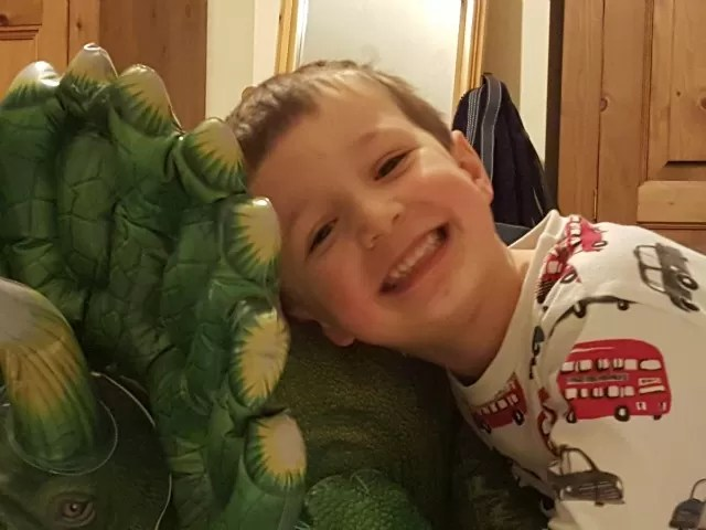 friends with his dinosaur