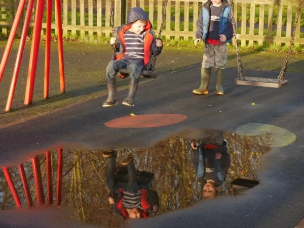 My Sunday photo - swing puddle reflections at the park