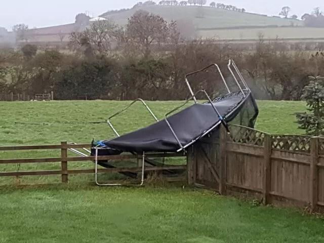 broken windswept trampoline