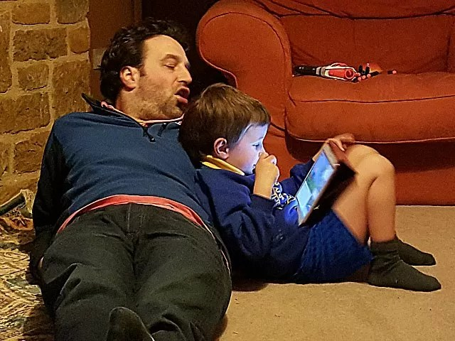 relaxing with his uncle