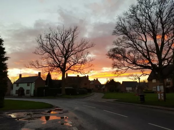 Sunset over Tysoe village reflected