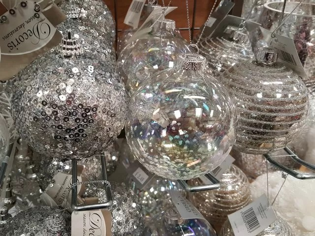 clear and silver christmas baubles