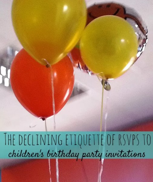 declining etiquette of rsvps to children's birthday party invitations