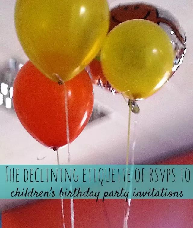 Decreasing Etiquette In Birthday Party Invitations And Rsvps - Children's birthday etiquette