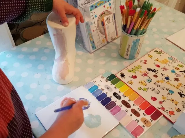 painting a pottery wellington boot