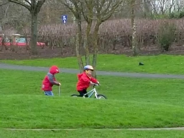 riding the mini skate park