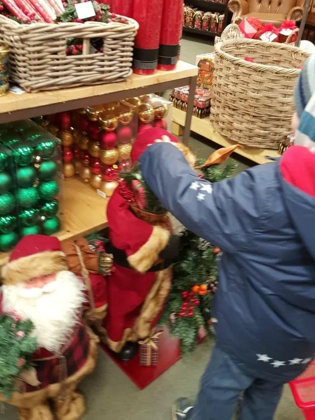 saying hi to Santa decorations