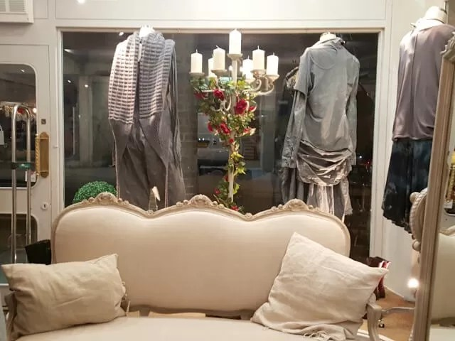 grey window dispays in Olivia May boutique